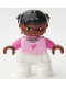 Minifig No: 47205pb015  Name: Duplo Figure Lego Ville, Child Girl, White Legs, Bright Pink Top, Dark Pink Arms, Brown Head, Black Hair with Braids
