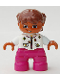 Minifig No: 47205pb016  Name: Duplo Figure Lego Ville, Child Girl, Magenta Legs, White Top with Flowers, Reddish Brown Hair with Braids