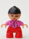 Minifig No: 47205pb018  Name: Duplo Figure Lego Ville, Child Girl, Red Legs, Dark Pink Top with Flowers, Black Riding Helmet