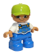 Minifig No: 47205pb025  Name: Duplo Figure Lego Ville, Child Boy, Blue Legs, White Top with Blue Overalls, Lime Cap, Freckles