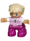 Minifig No: 47205pb028  Name: Duplo Figure Lego Ville, Child Girl, Magenta Legs, Bright Pink Top with Flowers, Tan Hair with Braids, Rectangular Blue Eyes