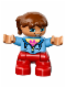 Minifig No: 47205pb030  Name: Duplo Figure Lego Ville, Child Girl, Red Legs, Medium Blue Jacket over Shirt with Flower, Reddish Brown Pigtails