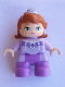 Minifig No: 47205pb033  Name: Duplo Figure Lego Ville, Child Girl, Medium Lavender Legs, Lavender Top, Dark Orange Hair with Diadem, Princess Sofia