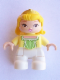 Minifig No: 47205pb034  Name: Duplo Figure Lego Ville, Child Girl, White Legs, Bright Light Yellow Top, Yellow Hair with Diadem, Princess Amber