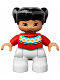 Minifig No: 47205pb036  Name: Duplo Figure Lego Ville, Child Girl, White Legs, Red Fair Isle Sweater with Orange Diamonds, Brown Eyes with Cheeks Outline, Black Pigtails