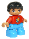 Minifig No: 47205pb038  Name: Duplo Figure Lego Ville, Child Boy, Dark Azure Legs, Red Top with Space Rocket Ship, Black Hair
