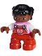 Minifig No: 47205pb041  Name: Duplo Figure Lego Ville, Child Girl, Red Legs, Bright Pink Top with Flower on Pocket, White Arms, Black Hair