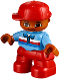 Minifig No: 47205pb042  Name: Duplo Figure Lego Ville, Child Boy, Red Legs, Medium Blue Top with Zipper and Blue, Red and White Stripes, Red Cap