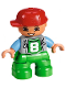 Minifig No: 47205pb043  Name: Duplo Figure Lego Ville, Child Boy, Green Legs, Light Bluish Gray Top with '8' Pattern, Medium Blue Arms, Red Cap