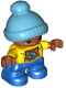 Minifig No: 47205pb047  Name: Duplo Figure Lego Ville, Child Boy, Blue Legs, Yellow Top, Medium Azure Bobble Cap