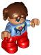 Minifig No: 47205pb048  Name: Duplo Figure Lego Ville, Child Girl, Red Legs, Medium Blue Top, Reddish Brown Hair