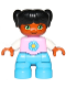 Minifig No: 47205pb050  Name: Duplo Figure Lego Ville, Child Girl, Dark Azure Legs, Bright Pink Top with Yellow and Dark Azure Flower, Black Hair with Ponytails