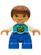 Minifig No: 47205pb055  Name: Duplo Figure Lego Ville, Child Boy, Blue Legs, White Top with Tractor Pattern, Reddish Brown Hair