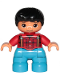 Minifig No: 47205pb058  Name: Duplo Figure Lego Ville, Child Boy, Dark Azure Legs, Red Checkered Shirt with Suspenders, Black Hair
