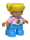Minifig No: 47205pb059  Name: Duplo Figure Lego Ville, Child Girl, Dark Azure Legs, White and Pink Top with Bee, Yellow Hair with Ponytails