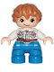 Minifig No: 47205pb062  Name: Duplo Figure Lego Ville, Child Boy, Blue Legs, White Checkered Shirt with Belt, Medium Dark Flesh Hair