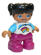 Minifig No: 47205pb063  Name: Duplo Figure Lego Ville, Child Girl, Dark Pink Legs, White and Medium Azure Top with Shooting Star, Black Hair with Ponytails