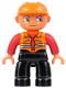 Minifig No: 47394pb001  Name: Duplo Figure Lego Ville, Male, Black Legs, Orange Vest, Orange Construction Helmet
