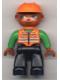 Minifig No: 47394pb002  Name: Duplo Figure Lego Ville, Male, Black Legs, Orange Vest, Orange Construction Helmet, Dark Skin