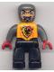 Minifig No: 47394pb003  Name: Duplo Figure Lego Ville, Male Castle, Black Legs, Bright Light Orange Chest, Dark Bluish Gray Arms, Red Hands
