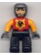 Minifig No: 47394pb004  Name: Duplo Figure Lego Ville, Male Castle, Black Legs, Red Chest, Bright Light Orange  Arms, Dark Bluish Gray Hands