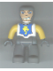 Minifig No: 47394pb005  Name: Duplo Figure Lego Ville, Male Castle, Dark Bluish Gray Legs, White Chest, Yellow Arms, Dark Bluish Gray Hands