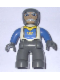 Minifig No: 47394pb007  Name: Duplo Figure Lego Ville, Male Castle, Dark Bluish Gray Legs, White Chest, Blue Arms, Dark Bluish Gray Hands