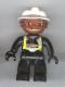 Minifig No: 47394pb010  Name: Duplo Figure Lego Ville, Male Fireman, Black Legs, Black Hands, White Helmet, Brown Face