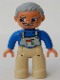 Minifig No: 47394pb011a  Name: Duplo Figure Lego Ville, Male, Tan Legs, Blue Top with White Overall Bib, Light Bluish Gray Hair