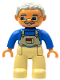 Minifig No: 47394pb011b  Name: Duplo Figure Lego Ville, Male, Tan Legs, Blue Top with Tan Overall Bib, Light Bluish Gray Hair