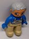 Minifig No: 47394pb011c  Name: Duplo Figure Lego Ville, Male, Tan Legs, Blue Top with White Overall Bib, Blue Hands, Light Bluish Gray Hair