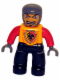 Minifig No: 47394pb013  Name: Duplo Figure Lego Ville, Male Castle, Black Legs, Bright Light Orange Chest, Red Arms, Dark Bluish Gray Hands, Open Mouth