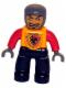 Minifig No: 47394pb013  Name: Duplo Figure Lego Ville, Male Castle, Black Legs, Bright Light Orange Chest, Red Arms, Dark Bluish Gray Hands, Open Mouth