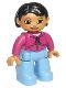 Minifig No: 47394pb015  Name: Duplo Figure Lego Ville, Female, Medium Blue Legs, Magenta Top, Black Hair, Brown Eyes