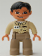 Minifig No: 47394pb018  Name: Duplo Figure Lego Ville, Male, Dark Tan Legs, Tan Top, Black Hair, Brown Eyes (Zoo Keeper)