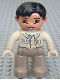 Minifig No: 47394pb018b  Name: Duplo Figure Lego Ville, Male, Dark Tan Legs, Tan Top, Tan Hands, Black Hair, Brown Eyes (Zoo Keeper)