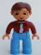 Minifig No: 47394pb019  Name: Duplo Figure Lego Ville, Male, Medium Blue Legs, Dark Red Top, Reddish Brown Hair