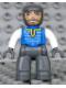 Minifig No: 47394pb020  Name: Duplo Figure Lego Ville, Male Castle, Dark Bluish Gray Legs, Blue Chest, White Arms, Dark Bluish Gray Hands