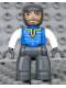Minifig No: 47394pb020  Name: Duplo Figure Lego Ville, Male Castle, Dark Bluish Gray Legs, Blue Chest, White Arms, Dark Bluish Gray Hands