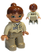 Minifig No: 47394pb021  Name: Duplo Figure Lego Ville, Female, Dark Tan Legs, Tan Top, Reddish Brown Ponytail Hair, Green Eyes (Zoo Keeper)