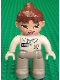 Minifig No: 47394pb021b  Name: Duplo Figure Lego Ville, Female, Dark Tan Legs, Tan Top, Tan Hands, Reddish Brown Ponytail Hair, Green Eyes (Zoo Keeper)