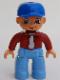 Minifig No: 47394pb022  Name: Duplo Figure Lego Ville, Male, Medium Blue Legs, Dark Red Top, Blue Baseball Cap