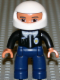 Minifig No: 47394pb024  Name: Duplo Figure Lego Ville, Male Police, Dark Blue Legs, Black Top with Badge, Black Arms, White Helmet
