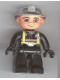 Minifig No: 47394pb025  Name: Duplo Figure Lego Ville, Male Fireman, Black Legs, Black Hands, Silver Helmet, Blue Eyes