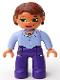 Minifig No: 47394pb028  Name: Duplo Figure Lego Ville, Female, Dark Purple Legs, Light Violet Top, Reddish Brown Hair