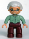 Minifig No: 47394pb030  Name: Duplo Figure Lego Ville, Female, Dark Red Legs, Sand Green Sweater, Very Light Gray Hair, Green Eyes, Glasses
