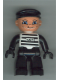 Minifig No: 47394pb032  Name: Duplo Figure Lego Ville, Male, Black Legs, Black and White Striped Top with Number 62019, Black Arms and Hands, Black Cap (Prisoner)