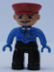 Minifig No: 47394pb038  Name: Duplo Figure Lego Ville, Male, Black Legs, Blue Jacket with Tie, Red Hat, Curly Moustache (Train Conductor)
