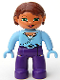 Minifig No: 47394pb040  Name: Duplo Figure Lego Ville, Female, Dark Purple Legs, Bright Light Blue Top and Hands, Reddish Brown Hair, Green Eyes