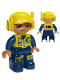 Minifig No: 47394pb042  Name: Duplo Figure Lego Ville, Male, Dark Blue Legs & Jumpsuit with Yellow Vest, Radio, ID Badge, Yellow Cap with Headset, Slight Smile